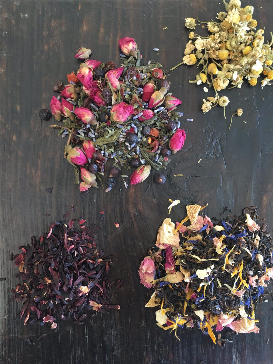 Fresh colourful loose leaf herbal tea
