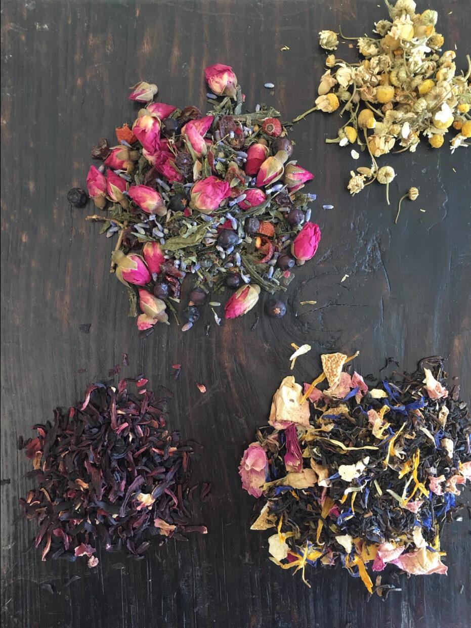 Fresh colourful loose leaf herbal tea