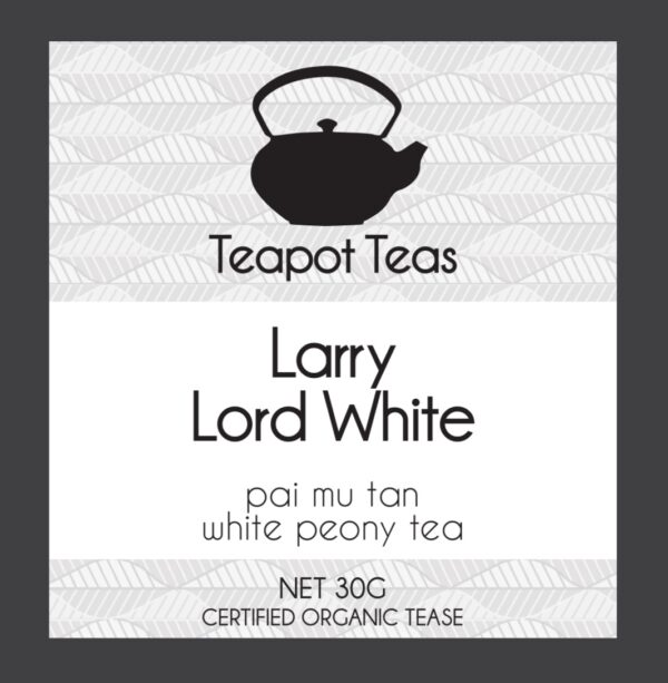 Larry Lord White_white peony tea_teapot teas_label