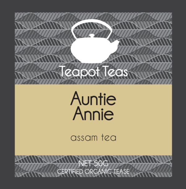 auntie annie_assam tea_teapot teas_label