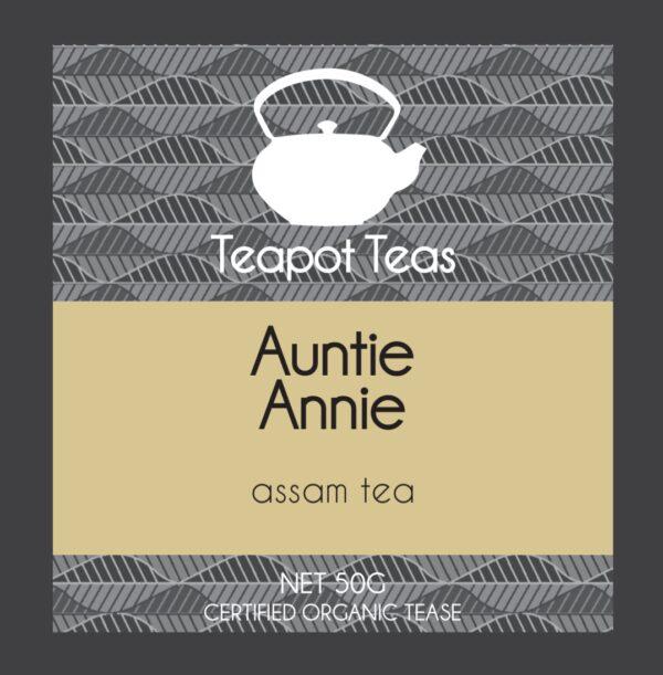 auntie annie_assam tea_teapot teas_label