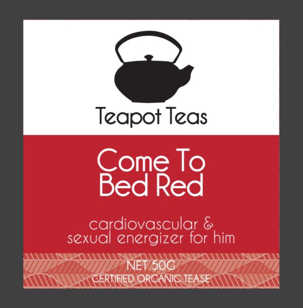 come to bed red_cardiovascular and sexual energizer for him_teapot teas_label