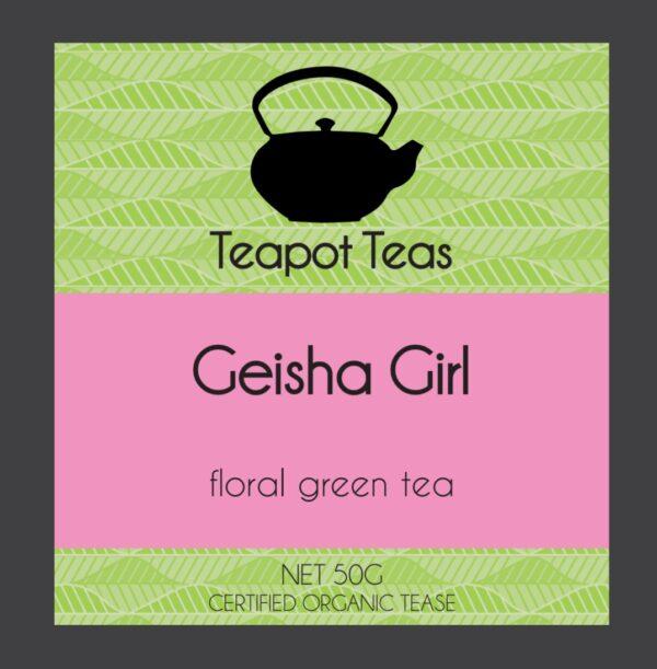 geisha girl_floral green tea_teapot teas_label