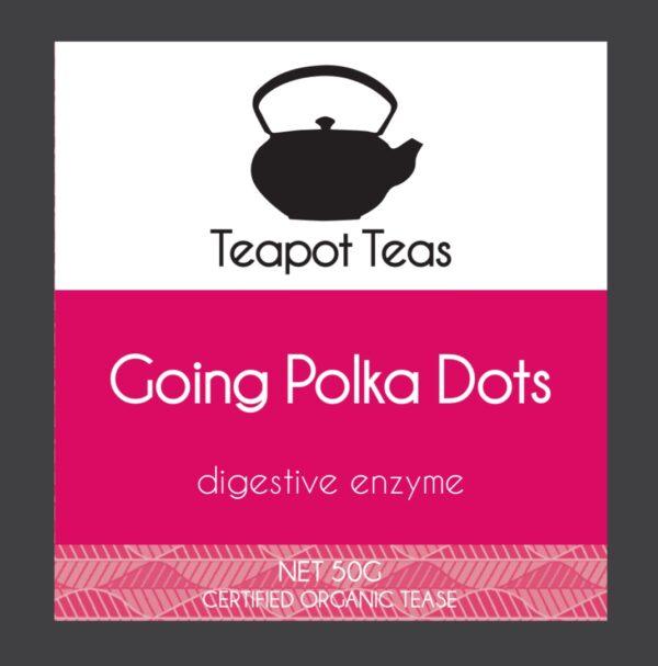 going polka dots_digestive enzyme_teapot teas_label