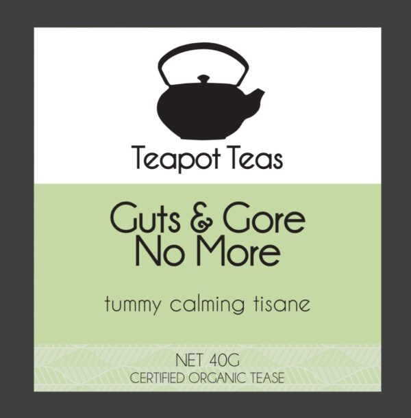 guts and gore no more_tummy calming tisane_teapot teas_label