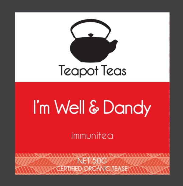 i'm well and dandy_immunitea_teapot teas_label