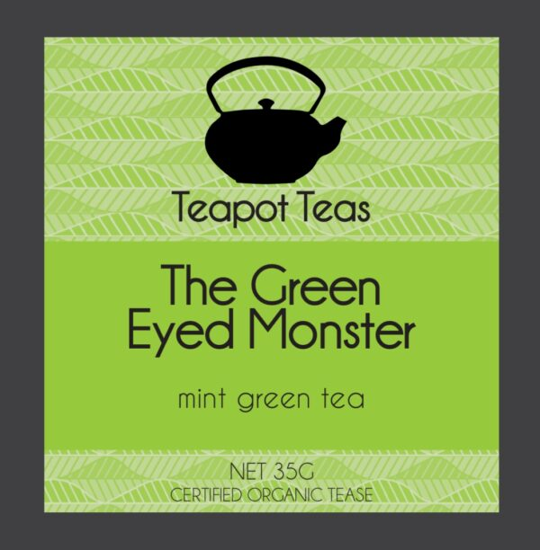 the green eyed monster_mint green tea_teapot teas_lable